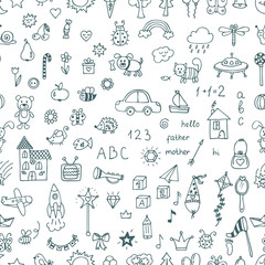 Cute hand drawn children drawings seamless pattern. Doodle child