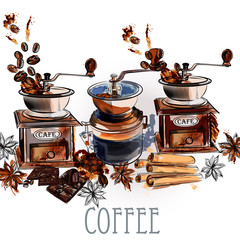 Coffee vector background with coffee grinder anise stars and roa