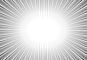 Vector comic book speed lines background. Starburst explosion in manga or pop art style.