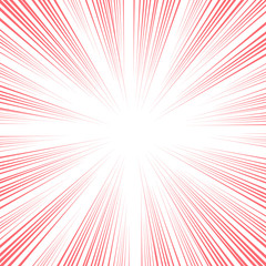Vector comic book speed lines background. Starburst red explosion in manga anime or pop art style.