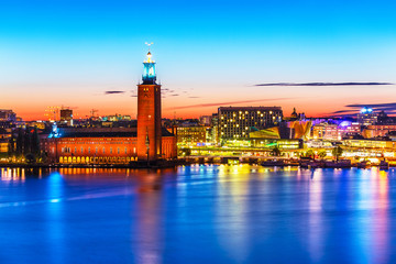 Evening scenery of the City Hall in Stockholm, Sweden