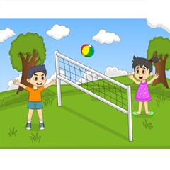 Children playing volleyball at the park cartoon vector illustration