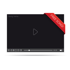 Flat video player for web and mobile apps with free song notific