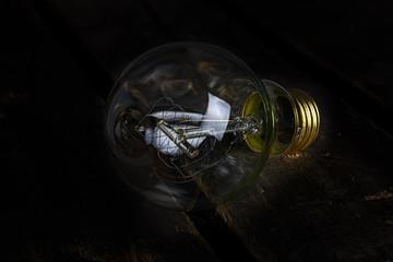 Quad Light Bulb on Wood