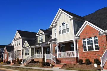 townhouse in a row in sunny day, North Carolina USA