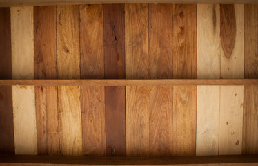 Empty shelf on wooden background. Wood texture