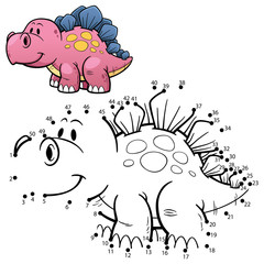 Vector Illustration of Education dot to dot game - Dinosaur