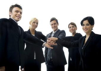 Powerful Team of Businessmen and Businesswomen on White