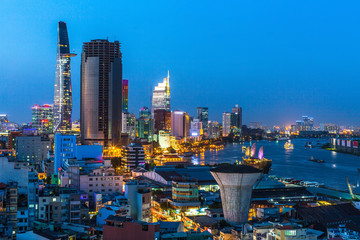 Top view of Ho Chi Minh City at night time, Vietnam.