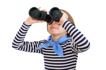 Jung looking through binoculars