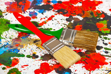Brushes, paint for painting