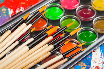 Brushes, paints, pencils for drawing