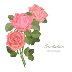 invitation card with bouquet of roses for your design.