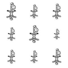 Seamless black labarum background or pattern on white