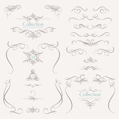 Collection of calligraphic elements. Decorative monograms and  borders. Classic design elements for wedding invitations.