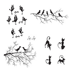 birds, vector wall stickers funny silhouettes, vector, pattern interior cat