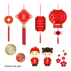 Chinese New Year vector,Chinese characters is meaning lucrative