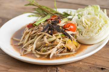Green papaya salad, Thai food.