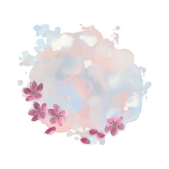 Watercolor Spot with Cherry Blossom Flowers