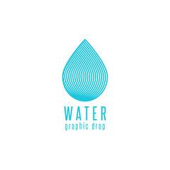 Water drop logo line blue design element, creative clean natural mineral aqua emblem