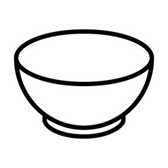 Soup bowl dishware line art icon for food apps and websites