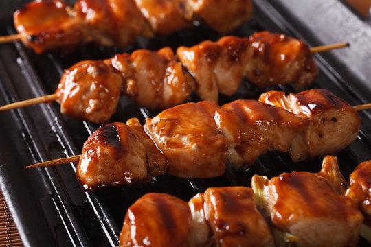 Cooking chicken yakitori of grilled. closeup horizontal