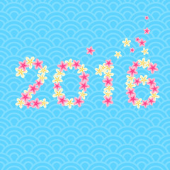 New year 2016. Flowers lettering. Greeting card. Blue wave background. East asian chinese japanese style. Frangipani plumeria flowers on a blue background.