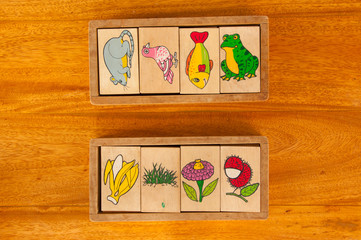 wooden block cartoon for learning