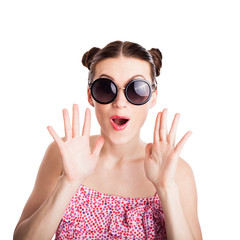funny girl in sunglasses
