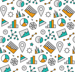 Infographic elements seamless icons pattern