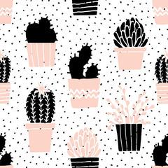 Fototapete - Hand Drawn Cactus Pattern