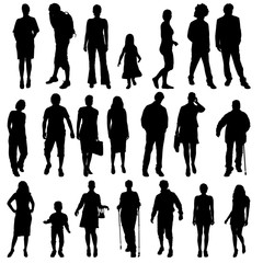 Poster Chambre d enfant Vector silhouettes of people.