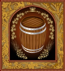 beer background with barrel and hop pattern around into vintage frame