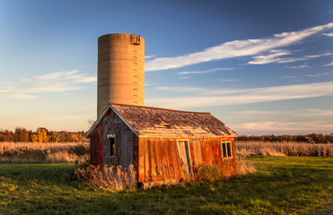 Abandoned Shack And Silo. Abandoned shack and silo in America's Midwest.