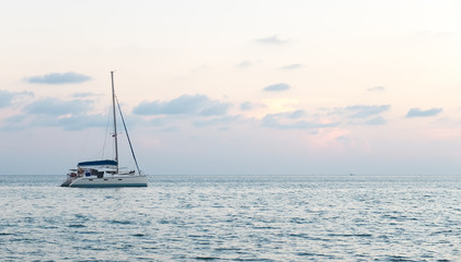 Single Yacht at The Corner in The Sea