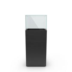 empty black showcase. 3d illustration isolated on white backgrou