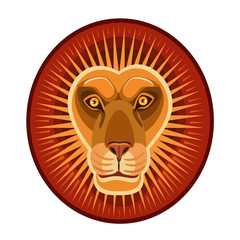 lion symbol of the sun/ icon lion sun vital energy, heat, light, power, horoscope sign for an icon and site
