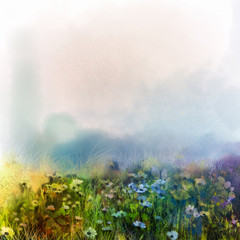 Abstract wildflowers, watercolor painting flower in meadows. Hand paint White and soft green blue daisy, gerbera flowers on light blue color texture background. Spring flower nature background