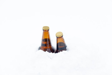 Two unopened bottles of beer covered to the neck in freshly fallen snow