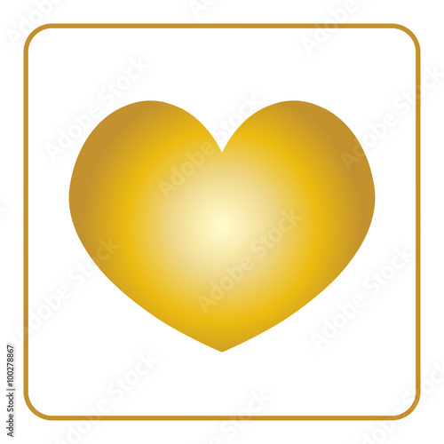 Heart Icon Golden Sign Isolated On White Background Symbol Of Love