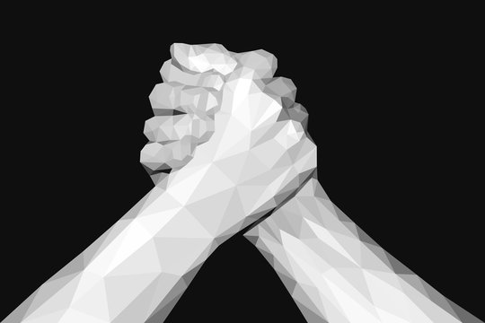 polygonal hand handshake friendly arm wrestling fist up on black