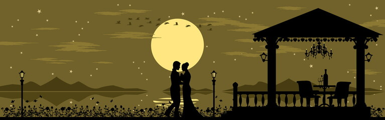 Fototapeta Romantic  silhouette background for valentine decoration( 6 unique layers ,easy to manage color  by your self)  obraz