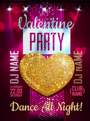Love heart background. Valentine Disco party poster