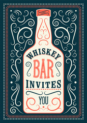 Typographic retro design Whiskey Bar poster. Vintage label with stylized whiskey bottle. Vector illustration.