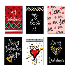 Set of gold and red texture Valentine's Day greeting card. Stickers and gift tags.