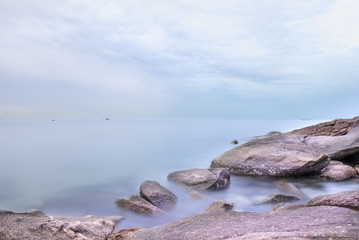 Seascape with rocky and sky with cloudy , Hua-Hin , Thailand