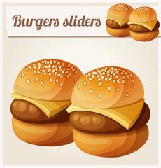 Kids burgers sliders. Detailed vector icon