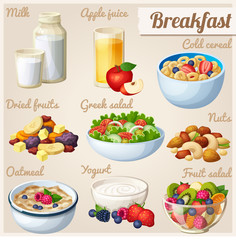 Breakfast 2. Set of cartoon vector food icons. Milk, apple juice, cold cereal, nuts, dried fruits, greek salad, oatmeal, yohurt, fruit salad.