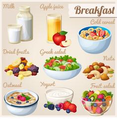 Breakfast 2. Set of cartoon vector food icons. Milk, apple juice, cold cereal, nuts, dried fruits, greek salad, oatmeal, yohurt, fruit salad.