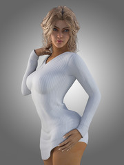 3D render of sexy young woman.